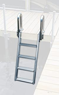 Great Northern 20 Degree 4 Step Swing-up Dock Ladder - Heavy Duty Wall Welded Aluminum