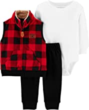 Carter`s Baby Boys` 3 Piece Plaid Patch Little Vest Set
