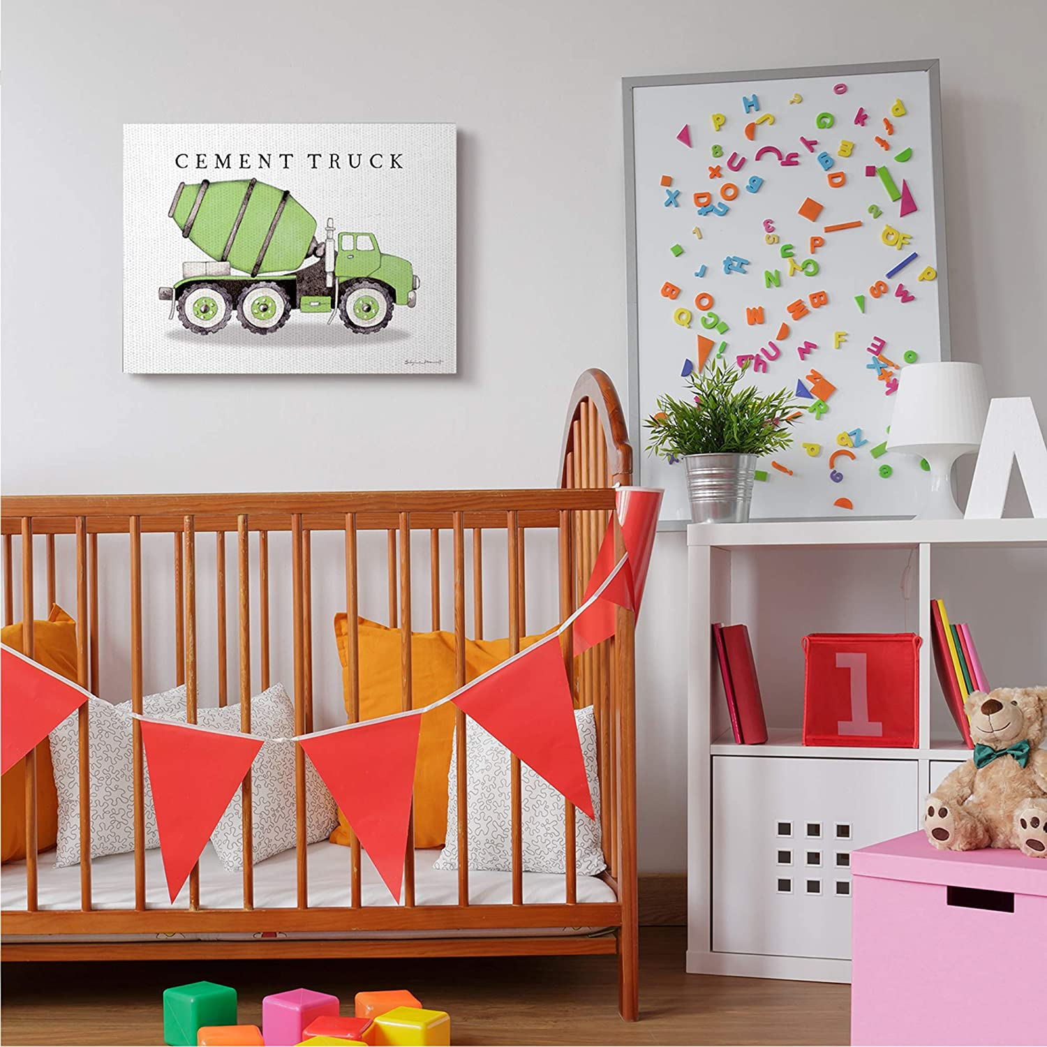 Off-White Designed by Stephanie Workman Marrott Canvas Wall Art Stupell Industries Green Cement Truck Mixer Classic Construction Vehicle 24 x 30
