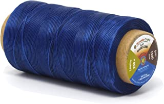 Mandala Crafts 150D 210D 0.8mm 1mm Leather Sewing Stitching Flat Waxed Thread String Cord (150D 0.8mm 250M, Blue)