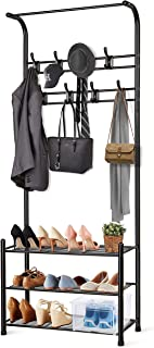 alvorog Entryway Coat Rack Shoe Bench, 3-in-1 Hall Tree, 3-Tier Storage Shelves with 16 Hooks Multifunctional Hallway Organizer, Easy Assembly (Black)