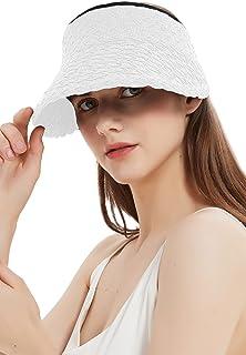 Giolshon Cappello da Sole da Donna in Paglia a Tesa Larga Arrotolabile Pieghevole UV UPF 50+ Berretto Estivo da Spiaggia c...