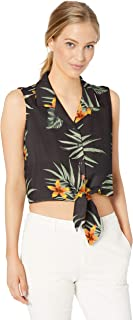 28 Palms Women's Loose-Fit Silk/Rayon Hawaiian Tie Front Crop Top