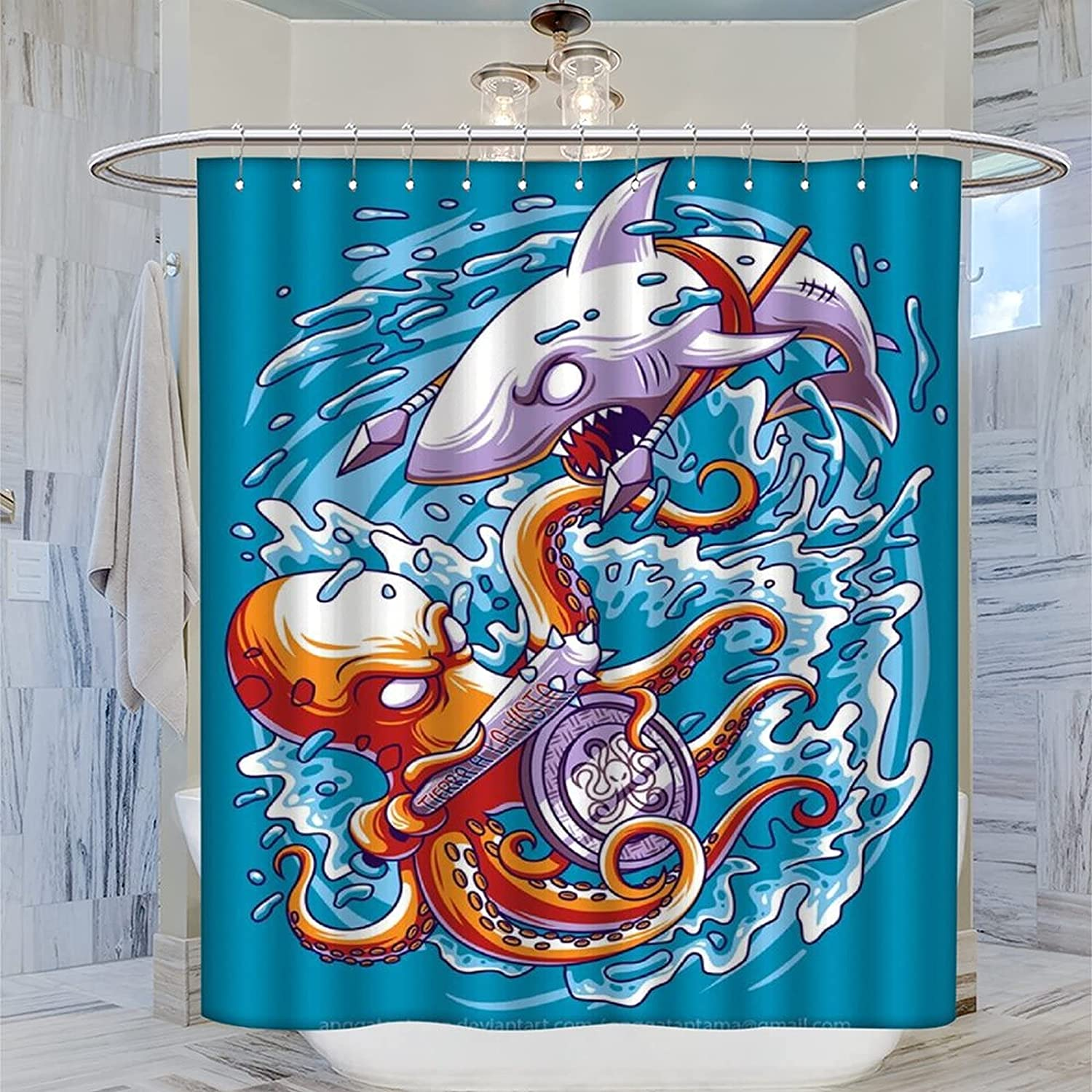 DRAGON VINES Animated Shower Curtain Octopus and New life Challenge the lowest price Colorful Shark