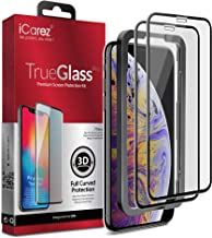 iCarez [3D Full Coverage Tempered Glass + Tray Installation] Double Defense Screen Protector for iPhone Xs Max 6.5-Inch (Edge to Edge) Easy Installation [ 2-Pack 0.33MM 9H ]