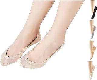 Calcetines de Corte Ultra Bajo para Mujeres Calcetines Antideslizantes Calcetines Casuales Antideslizantes Calcetines con Forro de Nylon Invisible para Zapatos Holgazanes de Barco Zapatillas 3/8 Pares