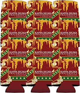 VictoryStore Can and Beverage Coolers - Kappa Sigma, Grunge Design, Set of 12