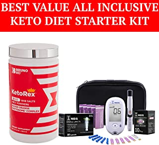 Bruno MD Ketorex Exogenous Ketones BHB Salts + MCT Powder, Clinically-Proven Phytosome Complex + Blood Ketone and Glucose Monitoring System - 1 Jar of Keto Supplement with Keto Blood Monitoring Kit