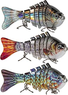 Sunrise Angler 4 Inch Bluegill Jointed Swimbait | Sinking Hard Bait Fishing Lure for Freshwater Game Fishing with Textured Lifelike Skin, Curvy 'S' Swim and 3D Prismatic Eyes