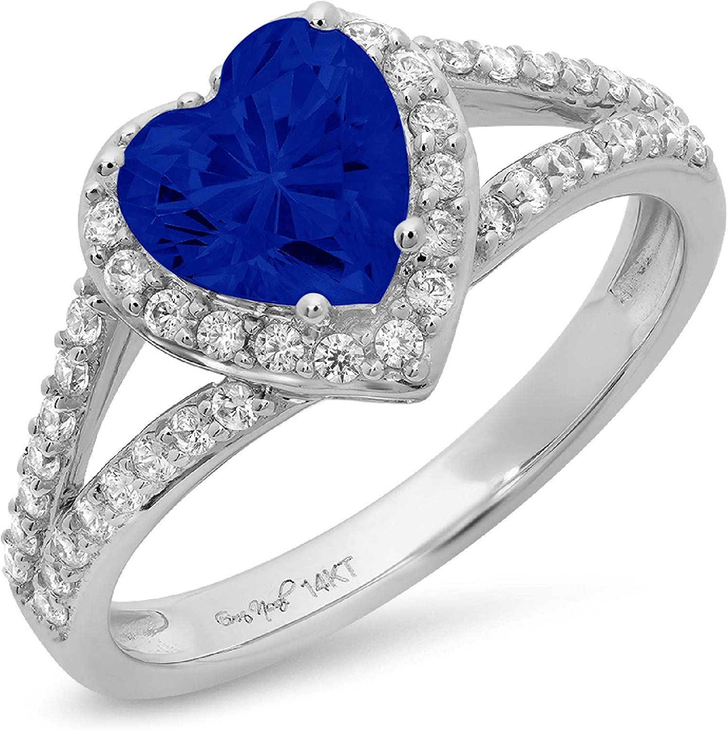1.75 ct Heart Cut Solitaire Accent Halo split shank Genuine Flawless Simulated Blue Sapphire Gemstone Engagement Promise Statement Anniversary Bridal Wedding Ring Solid 18K White Gold