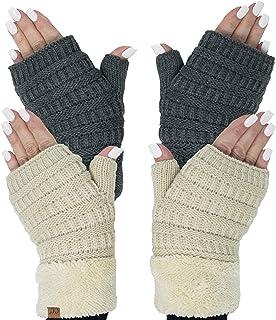 Funky Junque CC Fingerless Gloves Matching Beanies Fuzzy Lined Knit Wrist Warmer
