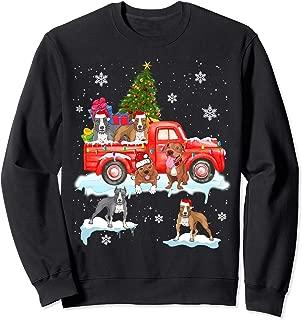 Christmas Dog On Red Car Pit Bull Truck Christmas Tree Sweatshirt