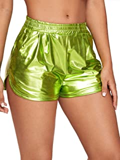 SweatyRocks Women's Metallic Shorts Elastic Waist Shiny Pants