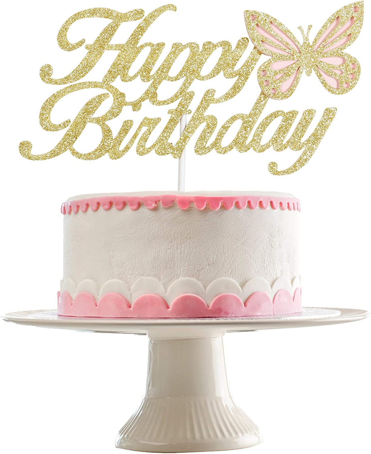 Happy Birthday Cake Atlanta Mall Topper Decorations Gold- Butterfly Spring new work