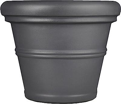 "Tusco Products RR42SL Rolled Rim Garden Pot, 42"", Slate"