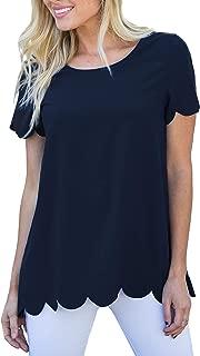 Apparel Women's Lightweight Scalloped Edge Scoop Neck Short Sleeve Tee | 100% Polyester