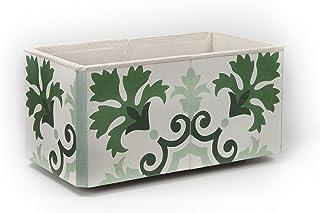 Jardinera Auténtico Mosaico Hidraulico Artesano. Diseño Hojas Verdes. Decoración Jardín, Terraza, Balcon. Exterior. Interior. Alta Calidad. Muy Resistente. (43x22x20 cm)