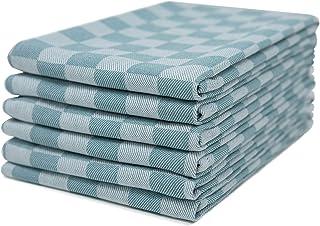 Sticky Toffee 100% Baumwolle Geschirrtuch | 6er-Set, | Blaues Aqua überprüfen | Größe 46 x 70 cm | Saugfähige Restaurant-Bar-Glas-Küchenwäsche