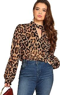 SheIn Women's Choker Neck Long Sleeve Sheer Leopard Print Chiffon Blouse Top