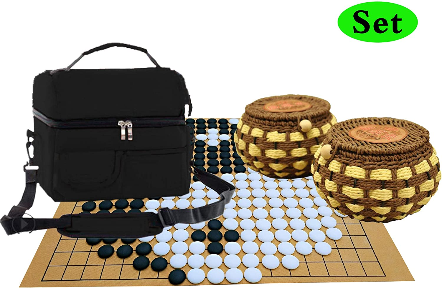 Go Board Game Set Yunzi Stones Top Strategy Game of Go Set 19x19 Board Games   Go Bolws   Nylon BagConvenient 2 Players Travel Games