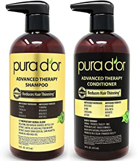 PURA D'OR Advanced Therapy System - Biotin Shampoo & Conditioner Increases Volume, Strength & Shine, Sulfate Free, Made with Argan Oil, All Hair Types, Men & Women, 16 fl oz (Packaging may vary)