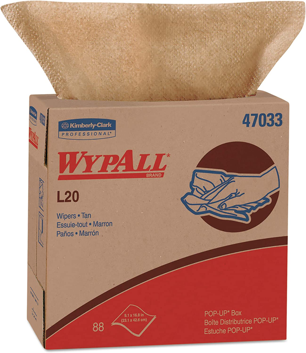 WypAll 47033 L20 Towels, POP-UP Box, 2-Ply, 9 1 10 x 16 4 5, Brown, 88 per Box (Case of 10 Boxes)