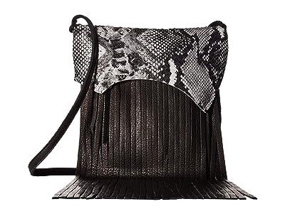 Leatherock Rylen Fringe Crossbody (Snake Black/White/Black) Cross Body Handbags
