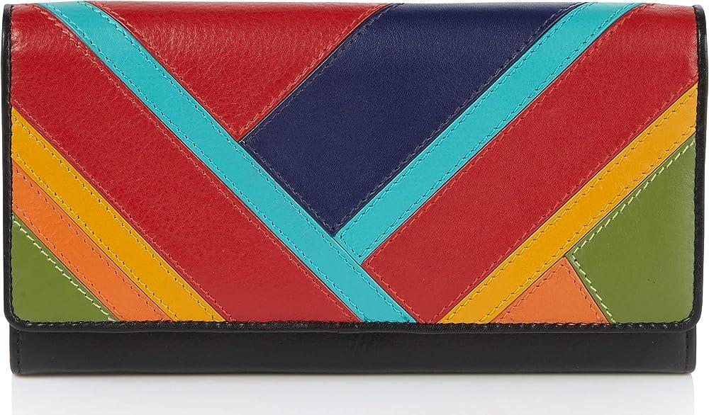 Visconti portafoglio da donna in vera pelle porta carte di credito con protezione anticlonazione Multicolore1