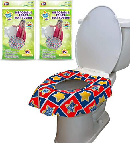 24 Large Disposable Toilet Seat Covers - Portable Potty Seat Covers for Toddlers, Kids, and Adults by Mighty Clean Ba...