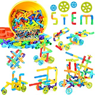 250 Pieces Toy Pipe, Tube Locks Set, Tubular Spout Construction Building Blocks Set, Fun Educational STEM Building Construction Toys with Wheels, Parts and Storage Box for Kids Boys Girls Ages 3+