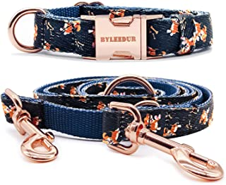 BYEEDUR Heavy Duty Dog Collar and Leash (6.6') in Set Wonderful Design & Insensitive Nylon - 3 Compartment Adjustable Leash - for Medium to Large Dogs
