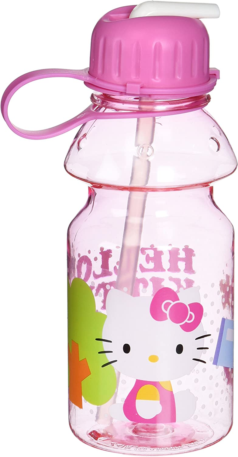 Zak  Designs Tritan Water Bottle with Flip-up Spout and Straw with Hello Kitty Graphics, Break-resistant and BPA-free plastic, 14 oz.