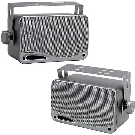 """3-Way Waterproof Marine Box Speakers - 3.5"""" 200 Watt Dual Indoor Outdoor Speaker System - Weatherproof/Waterproof Outdoor Speaker - Home, Boat, Pool, Patio Indoor Outdoor Use - Pyle PLMR24S (Silver)"""