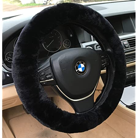 Fur Plush Steering Wheel covers Black Soft Warm Cover for Winter ZATOOTO Fluffy Car Steering Wheel Cover 14.5-15 inches