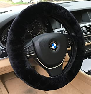 ANDALUS Car Steering Wheel Cover, Fluffy Pure Australia Sheepskin Wool, Universal 15 inch (Black)