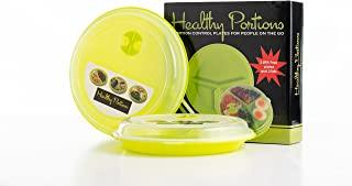 Healthy Portions -Portion Control Plates (2 Pack) - Innovative design for Losing Weight with 3-Sections & Leak-Proof Lids - Reusable, Easy to Clean, Microwave & Dishwasher Safe | BPA free