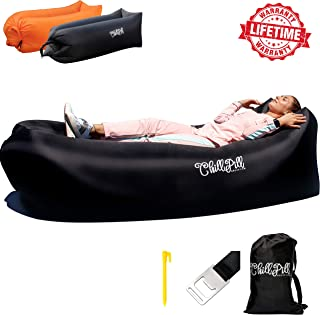 ChillPill Inflatable Lounger Hammock-Comfortable Blow Up Air Lounger for Outdoor Use–Portable Lounge Chair with Side Pocket,Stakes,Bottle Opener and Carry Bag–Lightweight Oxford Nylon Air Couch