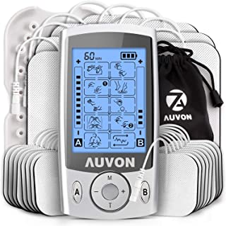 AUVON Dual Channel TENS Unit Muscle Stimulator (Family Pack), 20 Modes Rechargeable TENS Machine with Huge Pack of 24 Pcs ...