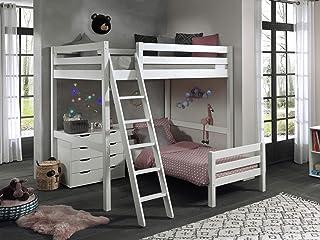 Lit Mezzanine 140x200 - Lit junior 90x200 2 sommiers Inclus et Commode 4 tiroirs Pino - Blanc