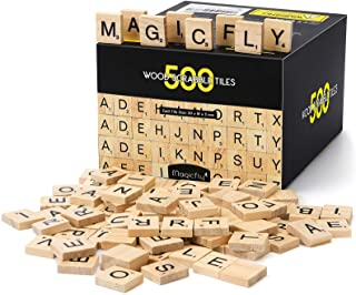 Magicfly 500Pcs Scrabble Tiles, Wood Craft Scrabble Letters Word Tiles, A-Z for Wood Gift Decoration & Scrabble Crossword ...