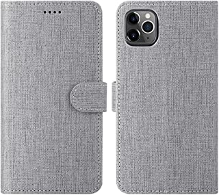 Foluu for iPhone 11 Pro Max Case, Wallet Case Cover Card Holster Flip/Folio Soft TPU Cover Bumper with Kickstand Ultra Slim Strong Magnetic Closure for iPhone 11 Pro Max 6.5 Inch 2019 (Gray)