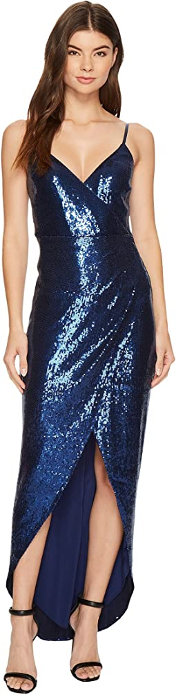 Nicole Miller - Shell Stretch Sequin Wrap Dress