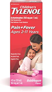 Children's Tylenol Oral Suspension Medicine with Acetaminophen, Bubble Gum, 4 fl. oz ( pack of 2 )