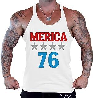 メンズMerica 1776?Tee b920プライホワイトStringer Bodybuildingタンクトップ