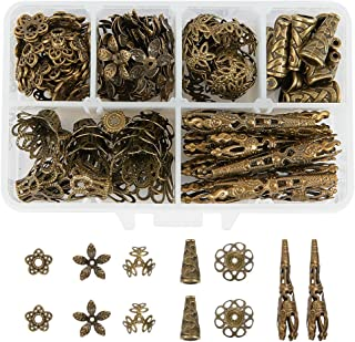 PandaHall Elite About 180 Pcs Tibetan Style Metal Flower Bead Caps 6 Styles for Jewelry Making Antique Bronze