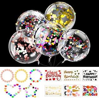 35 Pieces Clear Bobo Balloons Set, Include 24 Pieces 18 Inch 20 inch Bubble Transparent Balloons, 6 Sheets Decorative Stic...