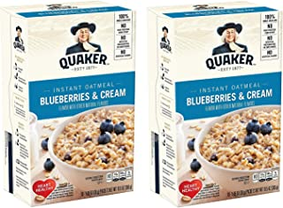 Quaker Instant Oatmeal, Blueberries & Cream, Pack of 2