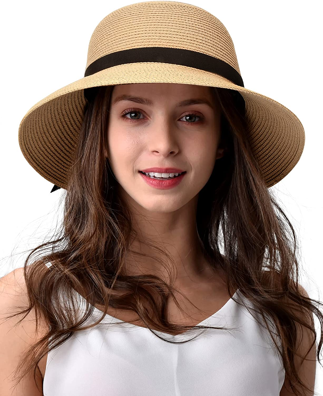 FURTALK Sun Hats for Women Wide Brim Straw Hat Beach Hat UPF UV Foldable Packable Cap for Travel