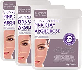 Skin Republic Pink Clay Mud Mask Sheet Treatment Unclogs Tightens and Purifies Pores One Sheet Per Pack 3 Pack