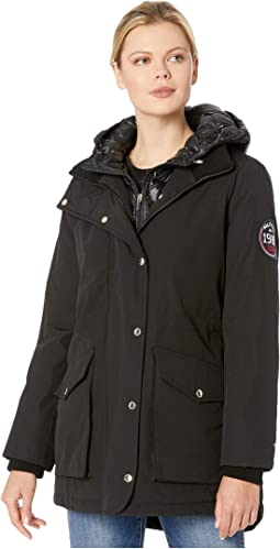 Faux Vest Hooded Parka w/ Patch